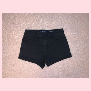 High Rise Faded Black Shorts
